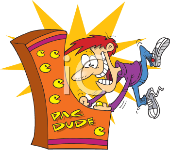 Royalty Free Clipart Image of a Man Playing an Arcade Game