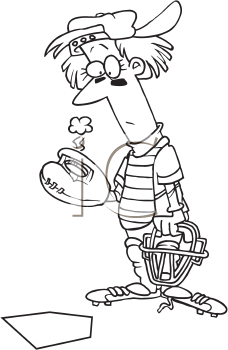 Royalty Free Clipart Image of a Catcher With a Hole in His Glove
