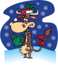 Royalty Free Clipart Image of a Cow Reading a Card in the Snow