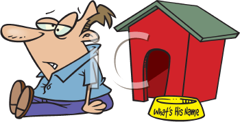 Royalty Free Clipart Image of a Man Outside a Doghouse