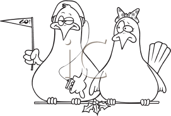 Royalty Free Clipart Image of Two Doves