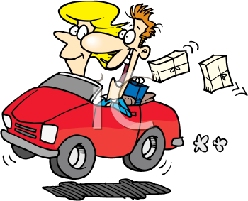 Royalty Free Clipart Image of a Couple in a Car