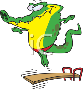 Royalty Free Clipart Image of a Gator Diving off a Board