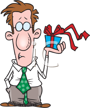 Royalty Free Clipart Image of a Man With a Gift