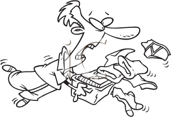 Royalty Free Clipart Image of a Man Spilling Laundry