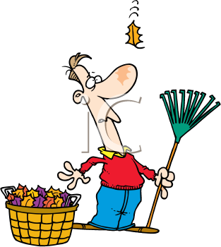 Royalty Free Clipart Image of a Man Watching a Falling Leaf