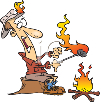Royalty Free Clipart Image of a Man Catching Fire While Roasting Marshmallows