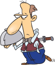 Royalty Free Clipart Image of a Man With a Knife in His Back Holding a Tray