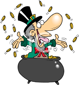 Royalty Free Clipart Image of a Leprechaun in a Pot of Gold