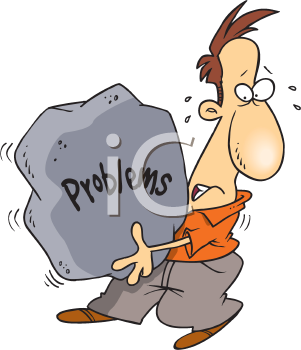 Royalty Free Clipart Image of a Man Carrying His Problems