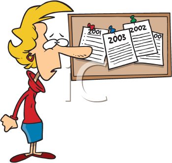 Royalty Free Clipart Image of a Woman With Several Lists of New Year's Resolutions on a Bulletin Board