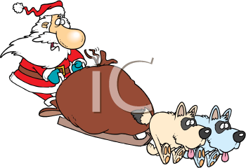 Royalty Free Clipart Image of Santa in a Dogsled