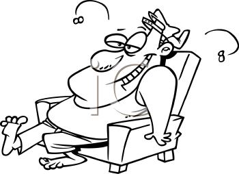 Royalty Free Clipart Image of a Man Sitting in a Chair