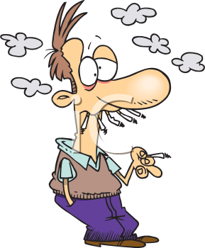 Royalty Free Clipart Image of a Heavy Smoker