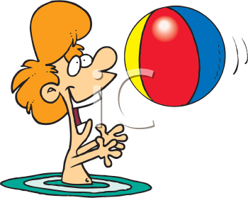 Royalty Free Clipart Image of a Boy Playing With a Beach Ball