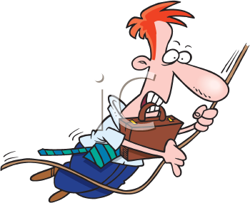 Royalty Free Clipart Image of a Man With a Briefcase Swinging on a Vine