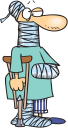Royalty Free Clipart Image of a Badly Injured Person With a Crutch