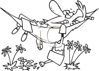 Royalty Free Clipart Image of a Man Watering His Flowers While Lying in a Hammock