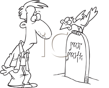 Royalty Free Clipart Image of a Man at a Tombstone