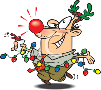Royalty Free Clipart Image of a Man Having Fun at a Christmas Party