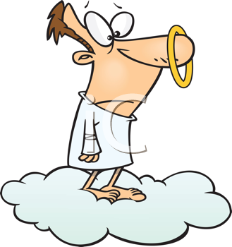 Royalty Free Clipart Image of an Angel With a Halo on Its Nose