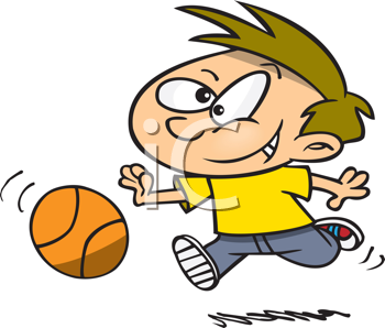 Royalty Free Clipart Image of a Boy Playing With a Ball