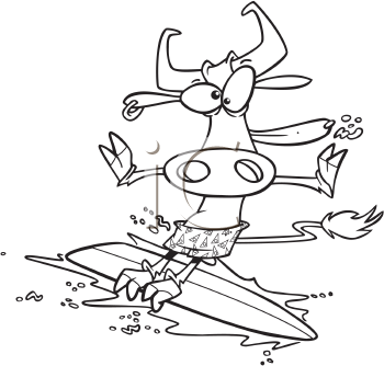 Royalty Free Clipart Image of a Cow Surfing