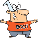 Royalty Free Clipart Image of a Guy With a Shirt That Says Boo