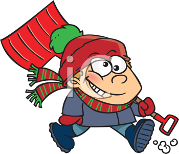 Royalty Free Clipart Image of a Kid With a Winter Shovel