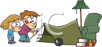 Royalty Free Clipart Image of Children Making a Tent in a Living Room