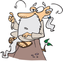 Royalty Free Clipart Image of an Old Guy on a Mountain