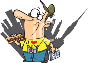 Royalty Free Clipart Image of a New York Tourist