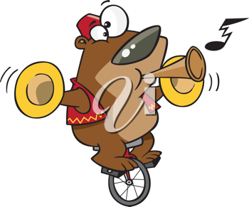 Royalty Free Clipart Image of a Bear on a Unicycle