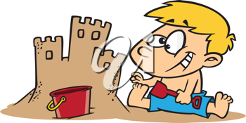 Royalty Free Clipart Image of a Boy Building a Sandcastle
