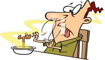 Royalty Free Clipart Image of a Man Looking at a Foot in His Soup