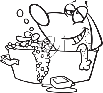 Royalty Free Clipart Image of a Dog Taking a Bath