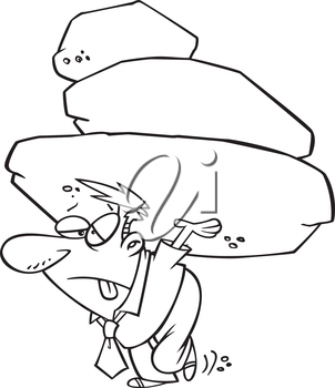 Royalty Free Clipart Image of a Male Carrying a Load of Rocks