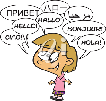 Royalty Free Clipart Image of a Little Girl Saying Hello in Several Languages