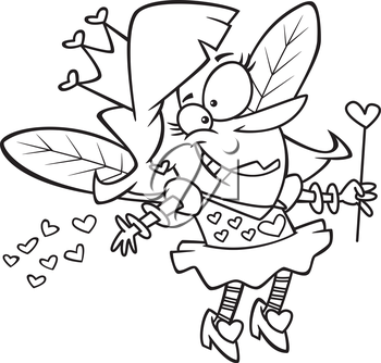 Royalty Free Clipart Image of a Woman Dressed up as a Valentine Fairy