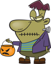 Royalty Free Clipart Image of a Trick-or-Treating Frankenstein