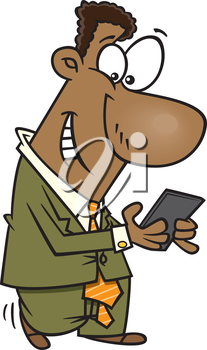 Royalty Free Clipart Image of a Man Texting