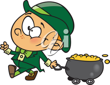 Royalty Free Clipart Image of a Leprechaun Pulling a Wagon of Gold