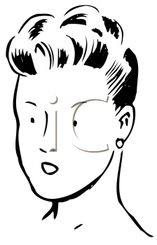 Royalty Free Clipart Image of a Lady With an Updo