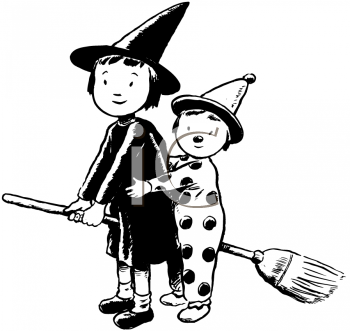 Royalty Free Clipart Image of a Little Witch and a Clown on a Broom