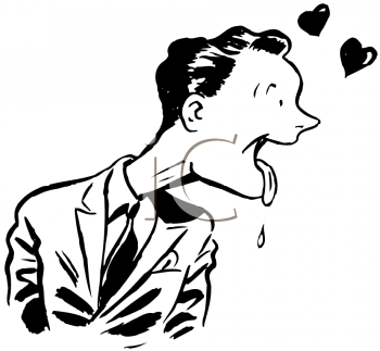 Royalty Free Clipart Image of a Lovestruck Man