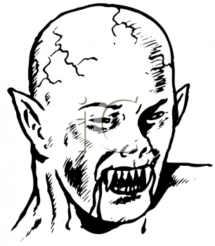 Royalty Free Clipart Image of a Scary Vampire