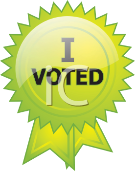 Royalty Free Clipart Image of an Election Button