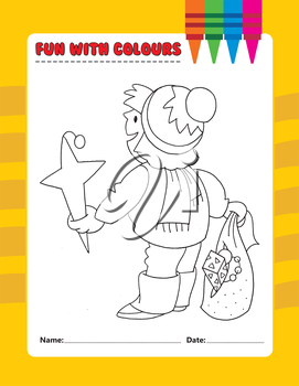 Royalty Free Clipart Image of a Christmas Colouring Page With a Child Holding Decorations