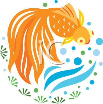 Royalty Free Clipart Image of a Goldfish Swimming