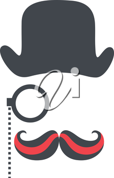 Royalty Free Clipart Image of a Hat, a Monocle and Moustache